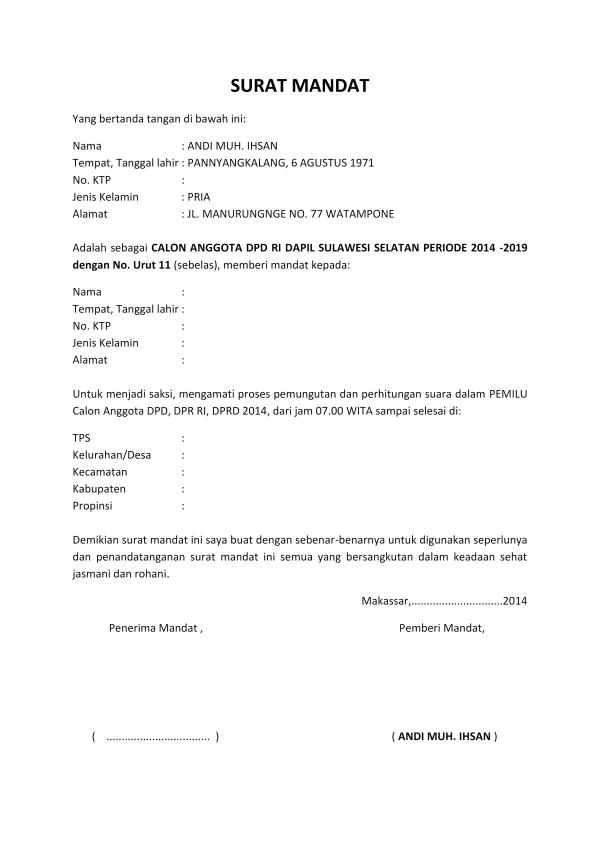 Contoh Surat Mandat Saksi Pemilu Sumangelipu